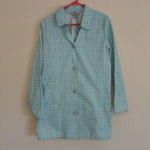 L. L. Bean Blue Checkered Windbreaker Jacket Med.